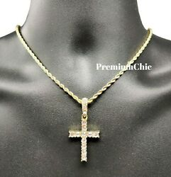 Iced Cross Pendant with 3MM Rope Chain Necklace Mens Hip Hop Gold Plated Jewelry $12.99
