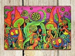 trippy psychedelic mushroom shroom metal tin sign home plaques $16.88