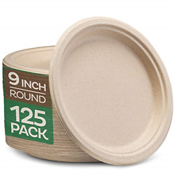 100% Compostable 9 Inch Paper Plates 125 Pack Heavy Duty Plate Natural Plate $20.79