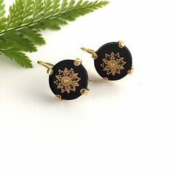 Vintage Gold Victorian Antique Inspired Black Onyx Bronze Statement Earrings AU $48.00