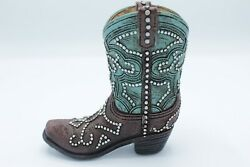 Western Rustic Turquoise Silver Nail Flower Cowboy Cowgirl Boot Vase Pen Holder $13.50