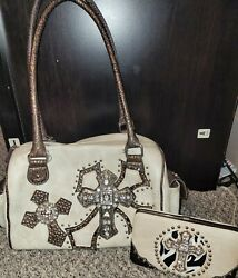 Handbag Purse Large With Bling Crosses And Matching Wallet $19.99