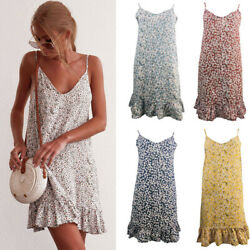 Womens Floral Boho Dresses Strappy Top Dress Ladies Sleeveless Holiday Sundress $13.69
