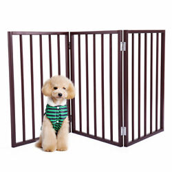 24quot; Folding Solid Wooden Pet Dog Fence Playpen Gate 3 Panel Free Standing Dogs $36.99