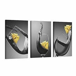 Black and White Wine Wall Art For Kitchen Decoration With Wood Inner Frame 3 Pcs $59.99