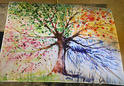 Tree Of Life 4 Seasons Watercolor Large Tapestry Wall Hanging Room Dorm Decor $14.99
