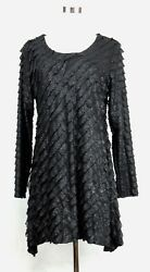 NEW Antthony Dress Solid Black Party Cocktail Sleeves Glitter Crew USA Made M $24.99
