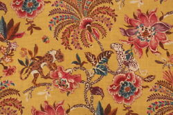 NOVELTY ANIMALS FLORAL LINENamp;COTTON PRINT MULTIPURPOSE FABRIC AMBER BTY $58.00