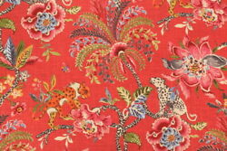 NOVELTY ANIMALS FLORAL LINENamp;COTTON PRINT MULTIPURPOSE FABRIC SPICE BTY $58.00