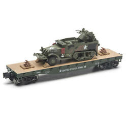 O Gauge UNITED STATES ARMY 11 1 2quot; FLATCAR with Half Track NEW $43.99