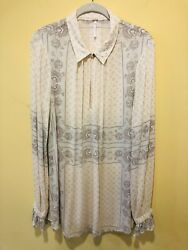 Free People Women's Top Tunic Boho Size Large L Ivory Mint Gray Floral Geo $32.95