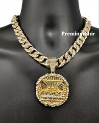 XL Last Supper Pendant Iced Cuban Rope CZ Necklace Chain Mens Hip Hop Jewelry $25.99