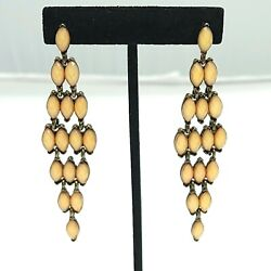 Peach Acrylic Faceted Beads Dangle Drop Earrings Post Chandelier Gold Sparkles $16.99