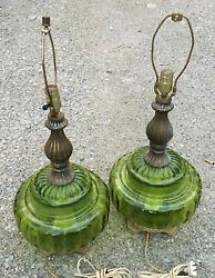 EF Industries Green Glass Lamps 1973 vintage table pair set Mid Century Modern $139.86