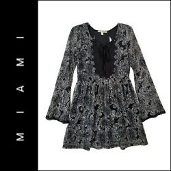 Miami Women Casual Formal Boho Long Sleeve Fit amp; Flare Dress Size Large Black $24.75
