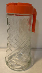 Vtg Tang 70#x27;s Anchor Hocking Juice Clear Glass Pour Embossed Pitcher Orange Lid $12.99