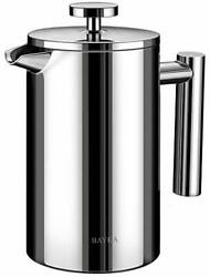 French Press Coffee Maker Stainless Steel 21Oz Double Wall Metal Insulated New $31.46