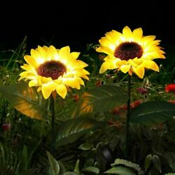 Sunflower 10 LED Solar Powered Lawn Stake Lamps Waterproof Outdoor Garden Lights $17.49