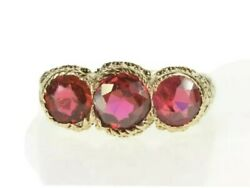 Mens 14K Yellow Gold Victorian Scroll Ring W Synthetic Rubies $500.00