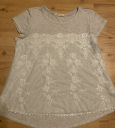 Rewind Top Blouse Brown Beige Sheer with Lace Cover sz XL $6.90