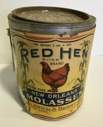 Antique Red Hen Brand of Pure New Orleans Molasses 2lb 6oz Tin Can $21.95