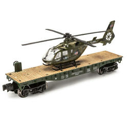 O Gauge 10 1 2quot; Flatcar U.S. ARMY MILITARY with HELICOPTER NEW $28.99