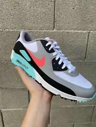 NIKE Air Max 90 Spikeless Golf Shoes Mens 13 South Beach Hot Punch AM90 Masters $200.00