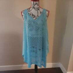 WOMENS Beach Bathing Suit Cover up WOMENS fit Large to XLARGE Baby Blue $24.99