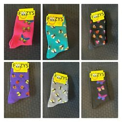 Foozy Women Novelty Socks Butter Fly Lady Bug Bee Nature NWT $2.99