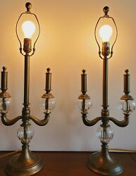 Bombay table lamps pair brass finish with crystal balls candlelabra shape work $169.15