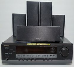 Onkyo HT R340 5.1 Home Theater Receiver Speaker Set w Subwoofer and Remote $135.00