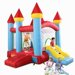Inflatable Bounce House with Slide and Double Doors Kids Bouncer Jumping Castle $183.99