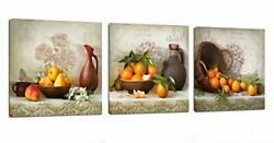 Kitchen Canvas Wall Art Flowers 12inch x 12inch x 3 Panels Vintage Fruits $39.46
