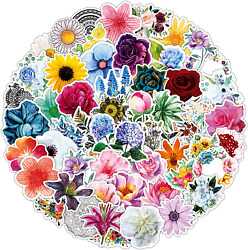 Flower Stickers 100 Piece Set Of Waterproof Floral Stickers Decorative Adhesive $14.81