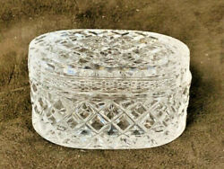 VINTAGE CRYSTAL OVAL TRINKET DISH WITH LID IN DIAMOND DESIGN NEW $13.00
