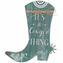 Western Country Rustic Turquoise COWGIRL BOOT Wooden Wall Art Plaque Decor Gift $15.99