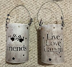 Lot of 2 NEW Tin Lantern Candle Holders Live Love Laugh amp; Friends 7quot; tall $9.99
