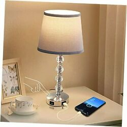 3 Way Dimmable Touch Crystal Bedroom Lamp with 2 USB Charging Ports $67.81