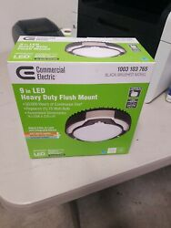 Commercial Electric Spin Light 9 in. Heavy Duty Brushed Nickel LED Ceiling Light