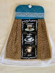 Kitchen Coffee Cup Oven Door Towel Blue Brown Fresh Brew Print White Lace New $6.00
