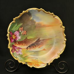 Limoges LRL 10quot; Cabinet Plate Artist Luc Yellow Green Gold Fish Orchids 1920#x27;s $129.99