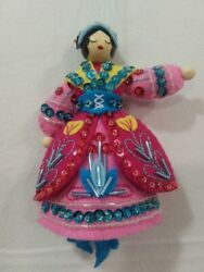 Lady Dancing Hand made beaded and sequined felt ornament 12 days of Chrismtas $22.50