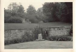 Vintage Bamp;W Photo Beautiful Unknown Park Stone Wall Trees #25 $9.81