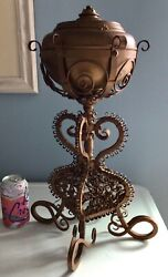 Antique Victorian Oil Lamp on Ornate Iron Stand Ready for Electric $149.00