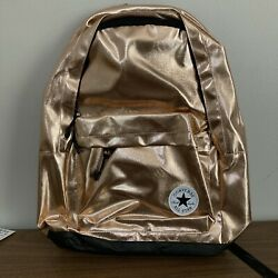 CONVERSE ALL STAR LARGE BACKPACK ROSE GOLD METALLIC METAL SHINY CHUCK TAYLOR NEW $45.00