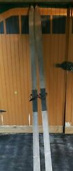 VINTAGE Rustic Wooden Cross Country Antique Snow Skis 95quot; $72.90