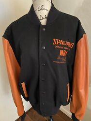 Vintage NBA Spalding Leather Trim Wool Embroidered Jacket Size XL $149.99