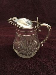Antique Crystal with Silver Lid and Handle Syrup Pitcher $125.00
