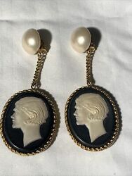 Chanel Cameo Vintage Earrings jewelry $3995.00