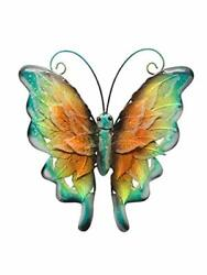 Bownew Butterfly Wall Decor Metal Outdoor Garden Hanging Art Insect Yellow $29.57
